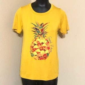 Teenbell Gold Top with Pineapple Goodvibes Print